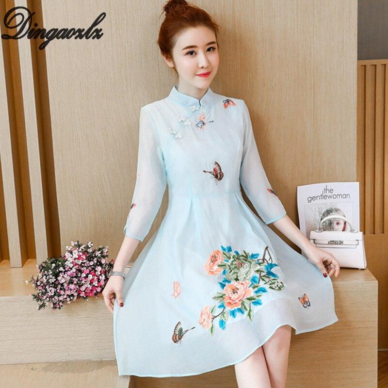 Dingaozlz Vestidos chiffon dress elegant female stitching lace dress Improved Cheongsam 2018 new korean fashion women dress