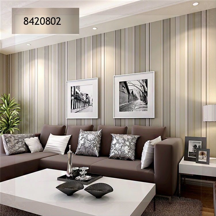 Striped wallpaper designs for living room living room for Wallpaper designs for living room green