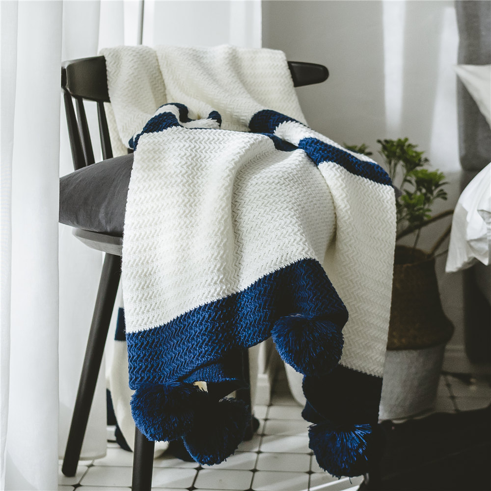 100% acrílico tejer mantas blanco Throw manta en el sofá/cama/avión ...