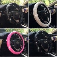 Diamond PU Leather Car Steering Wheel Cover For Girls 38cm Car Interior Accessories Super Styling