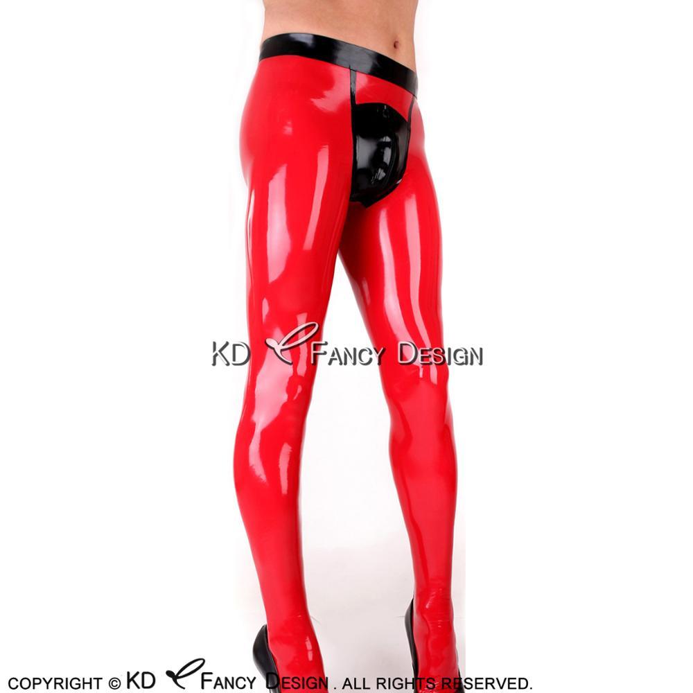 Rouge avec noir noir Long Latex pantalon avec fermeture éclair avant talon garnitures décoration avec pieds chaussettes caoutchouc pantalon pantalon CK-0049