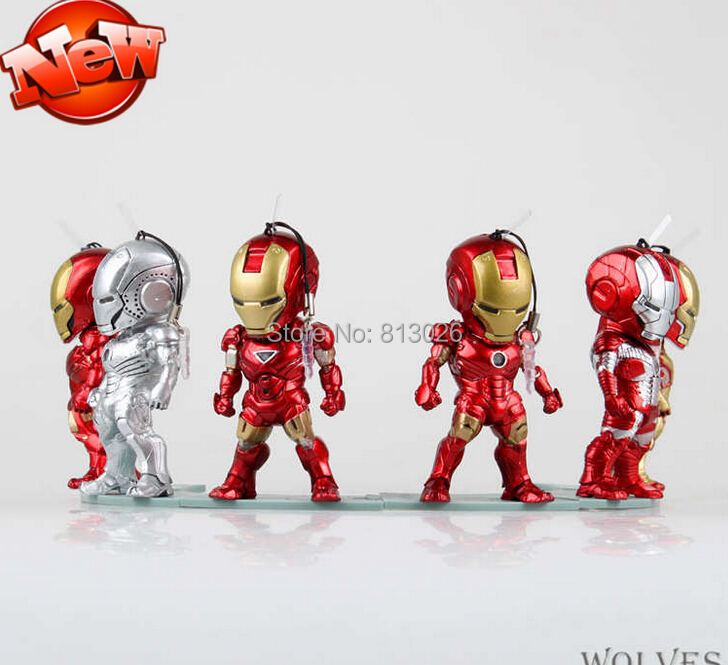 Iron Man 3 Action Figure Mini 6pcs/set light Action Figures PVC brinquedos Collection Figures toys for christmas gift iron man action figure mini egg attack light 6pcs set action figures pvc brinquedos collection figures toys for christmas gift