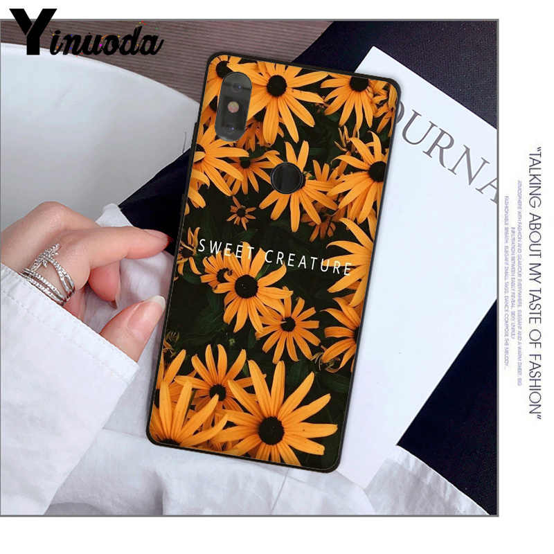 Yinuoda Vàng hoa daisy Nhỏ Hoa Hướng Dương Đen Ốp Lưng điện thoại Đỏ Mi 5 Plus Note 5 Xuiao Mi Mi 8 8SE 6 mi X 2 2 S Di Động Trường Hợp