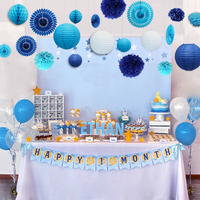 20pcs Sea blue Themed Summer Party Decoration Set Paper Lantern Pompoms Wedding Home Children Kids Boy 1st Birthday Party Supply