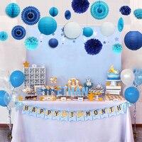 20pcs Sea blue Themed Summer Party Decoration Set Paper Lantern Pompoms Wedding Home Children Kids Boy 1st Birthday Party Supply