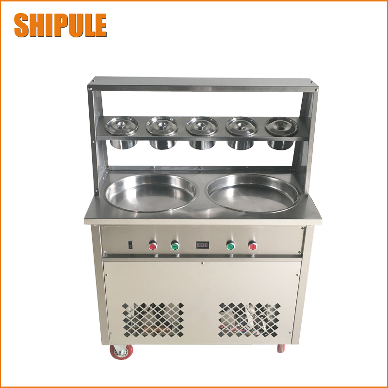 Commercial Double pan fried ice cream machine, Fry ice cream machine, ice cream roll machine,flat fried ice cream maker commercial double flat pan fried ice cream machine cheap ice pan flat pan fried ice cream machine