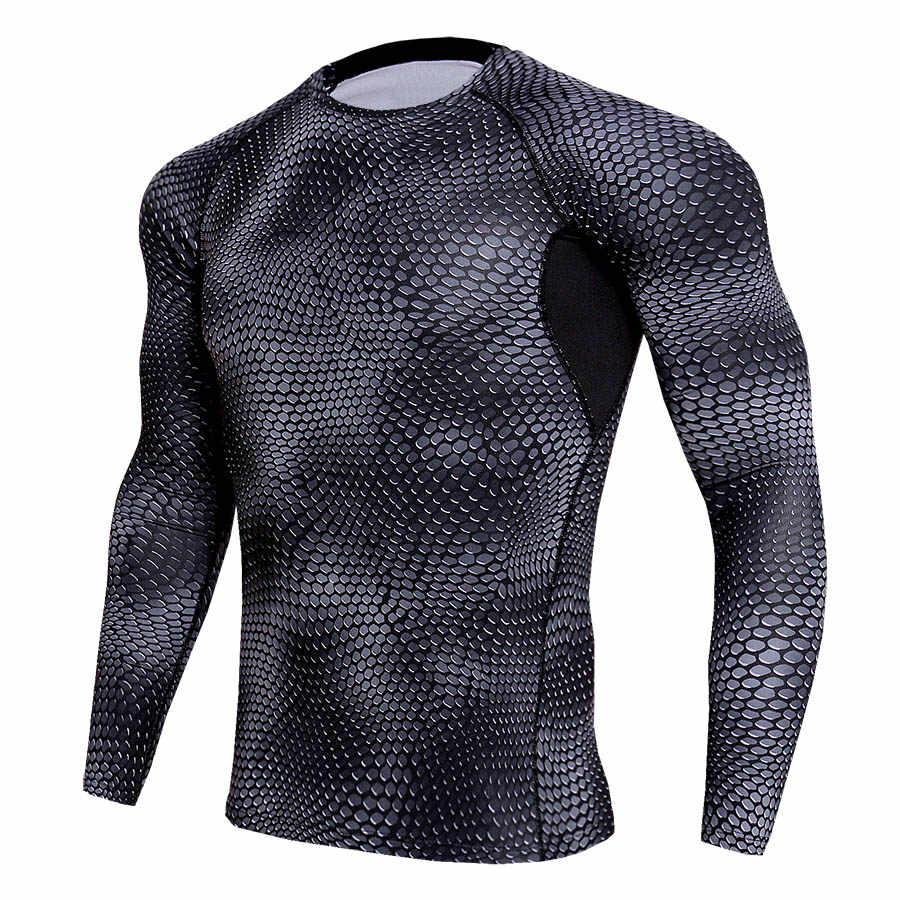 e8d5802510123 2018 Compression Shirt T Shirt Men Long Sleeve Rashguard Mesh Spliced Breathable  Fitness Sportswear T-