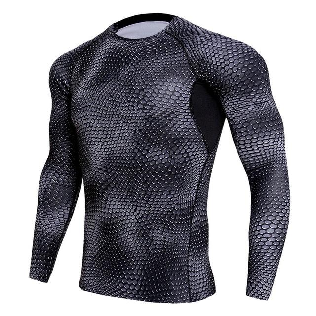 5e29c56854 2018 Camisa T Shirt Dos Homens de Manga Longa de Compressão Rashguard Malha  Emendado Respirável Sportswear