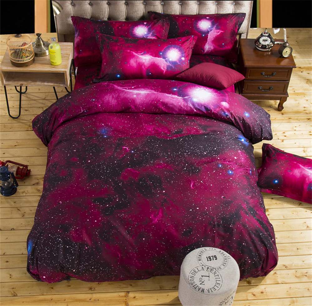 Textiles Para el hogar, Rojo Universo Espacio Estrellado Estilo Queen Twin Size