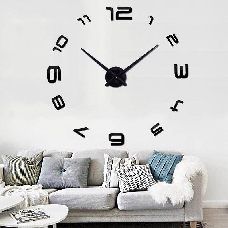 Muhsein 2018 nueva moda home venta caliente Reloj de pared Relojes de pared  moderna decoración del hogar de estilo antiguo 3D DIY acrílico espejo sticke 3f688c71ddce6