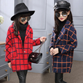 Girls Fall and Winter Clothes Wool Cardigan Collar Windbreaker Children Personality Plaid Woolen Coat Kids Clothing   L2263