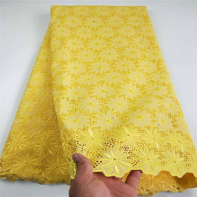 High Quality Cotton Lace Fabric 2019 Latest Design Swiss Voile With Stone Swiss Voile Lace In