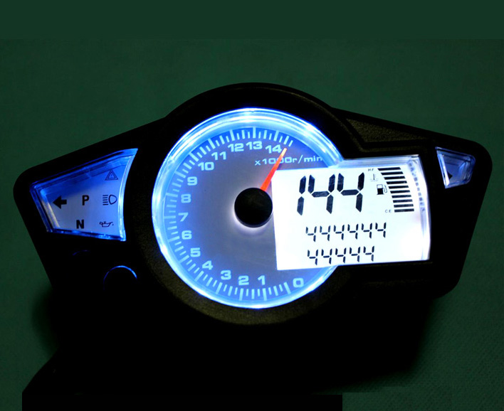 Samdo Adjustable 14000RPM Motorcycle LCD Digital Odometer Speedometer Tachometer Gauge Kmh Mph