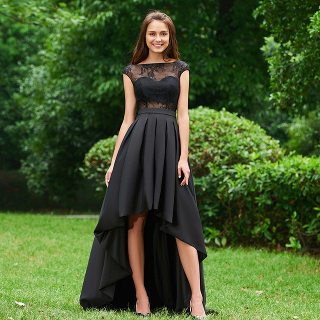 Tanpell Asymmetry Prom Dresses Black Lace Cap Sleeves Sweep Train A