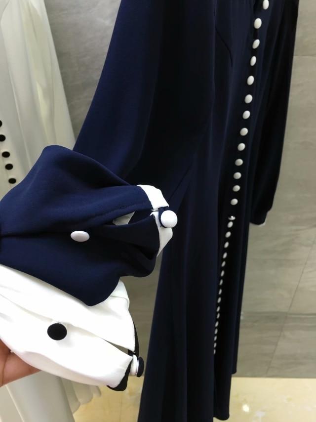 Bleu Slim Manches Taille Robe 3 Femmes Bleu Avant Cou Blanc blanc 5 Pincer Profonde V Midi Bouton Fractionnement n16O1aqwW