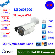 POE Full-HD 1080P 2MP IP Camera metal Waterproof Bullet Network varifocal lens P2P Onvif 2.4 Security Outdoor 60M IR Range