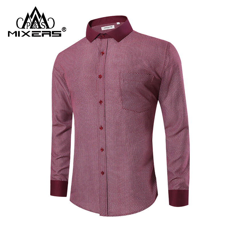 New Arrival 2018 Comfortable Men Shirt Long Sleeve Business Casual Print Dress Shirts Men Comfortable Men Clothing Big Size 4XL
