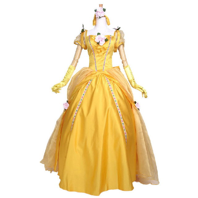 adult princess Belle costume cosplay beauty and the beast halloween costumes for women Prom Dress plus  sc 1 st  AliExpress.com & adult princess Belle costume cosplay beauty and the beast halloween ...