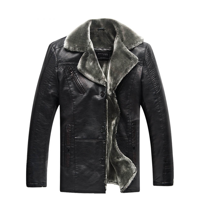 2017 Winter Faux Leather Coat for Men Casual Turn-down Collar Single Breasted Slim Faux Fur Lining Warm Jackets Black CT04