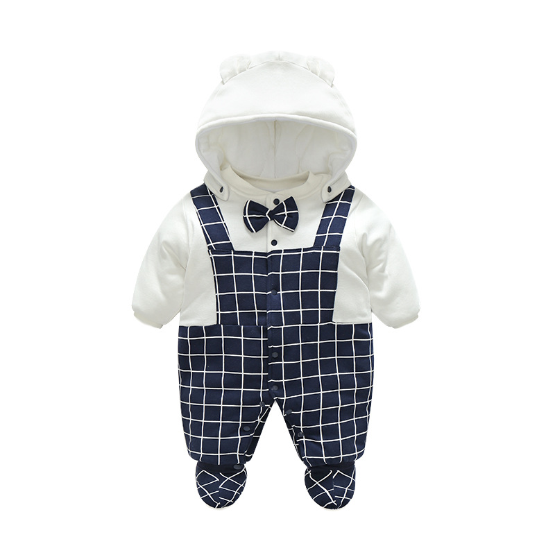 Godier Winter Newborn Baby Rompers & Hats & Shoes Costume Jumpsuit Fleece Cotton Boys Clothes Cute Warm Baby Girls Top Clothing autumn winter baby hats new fashion children warm ball hat double color boys and girls cotton caps beanies baby knitted hat