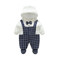 Godier Winter Newborn Baby Rompers Hats Shoes Costume Jumpsuit Fleece Cotton Boys Clothes Cute Warm Baby