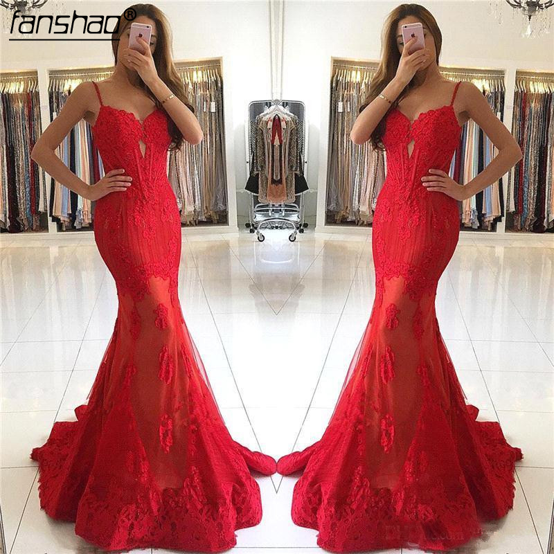 Spaghetti Straps 2019 Prom Dresses Mermaid Tulle Lace Red Party Maxys Long Prom Gown Evening Dresses Robe De Soiree