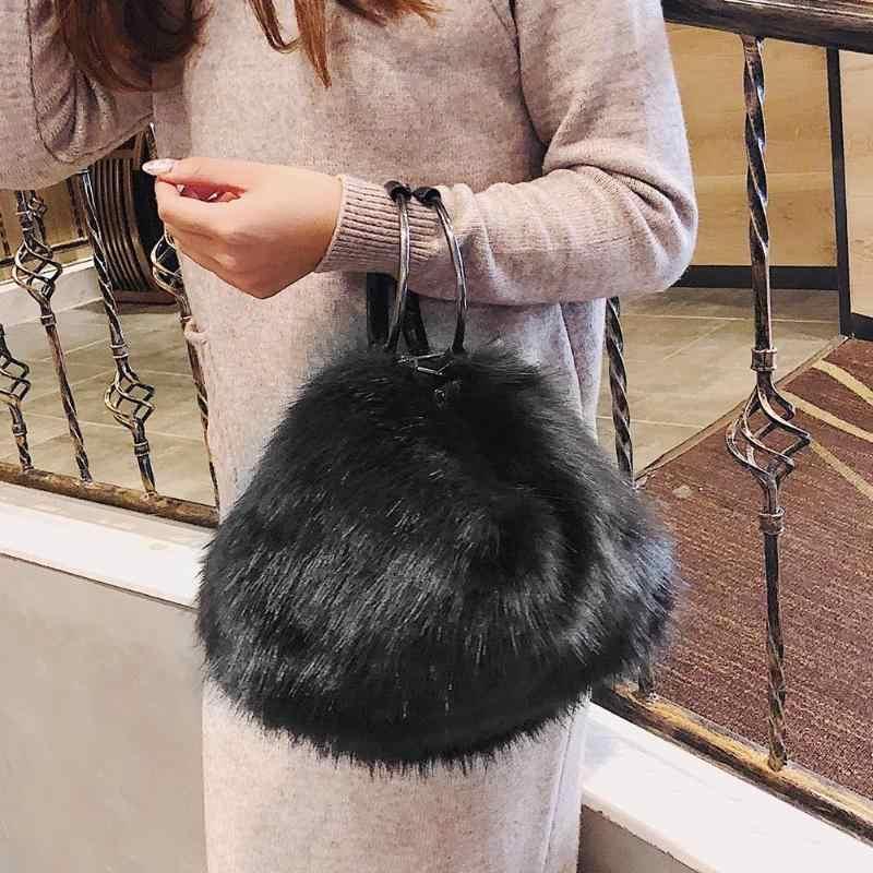 Милые мягкие сумки для девочек из искусственного меха, Женская Большая вместительная вечерняя сумка на плечо, сумка-тоут для путешествий, женские сумки черного и белого цвета
