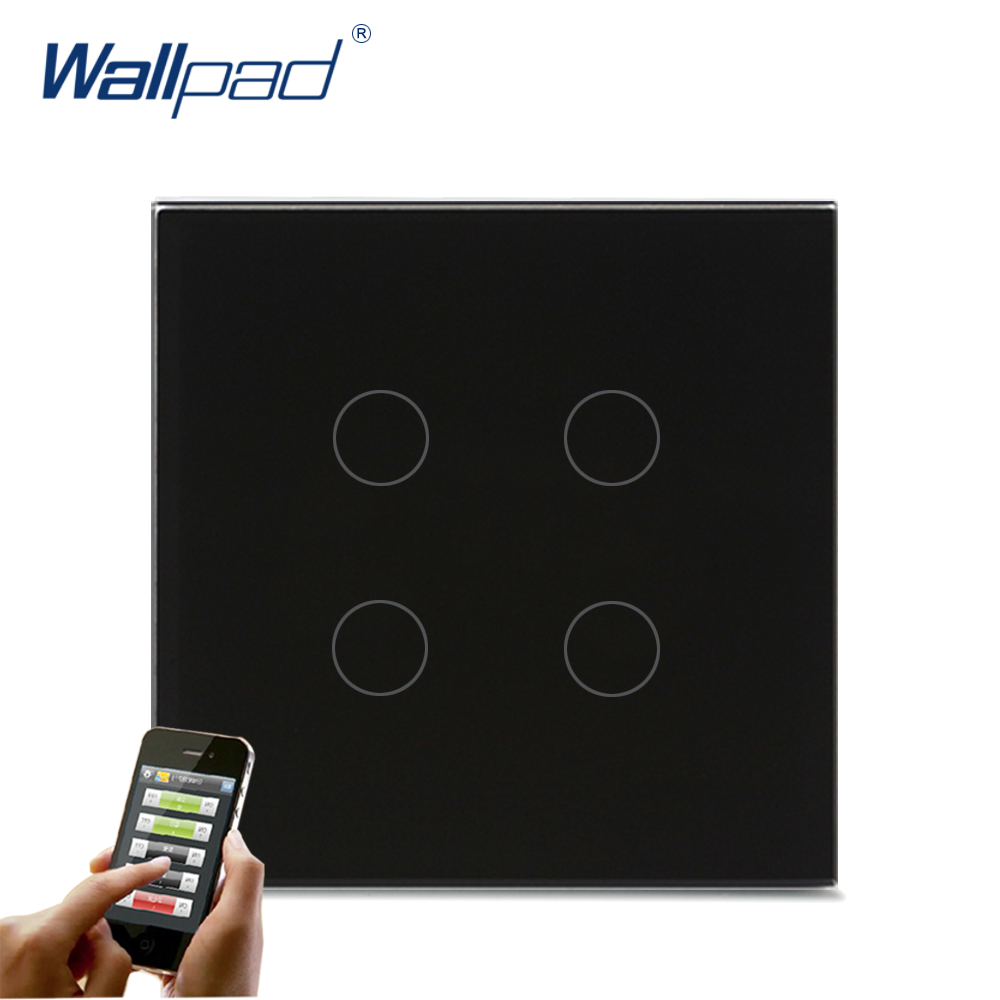 Hot Sales 4 Gang Wifi Switch Wallpad Black Crystal Glass UK EU Standard 4 Gang Wifi Phone IOS Android App Wireless Switches