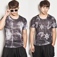Hiphop personality tshirt men street star style modern dance drum rack camouflage slim t shirt mens singer dance stage rock
