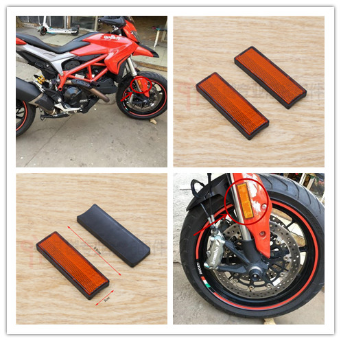 orange Motorcycle Fork Leg Reflector For Ducati Motorcycle Fork Reflectors bande réfléchissante scooter orange pour fourche