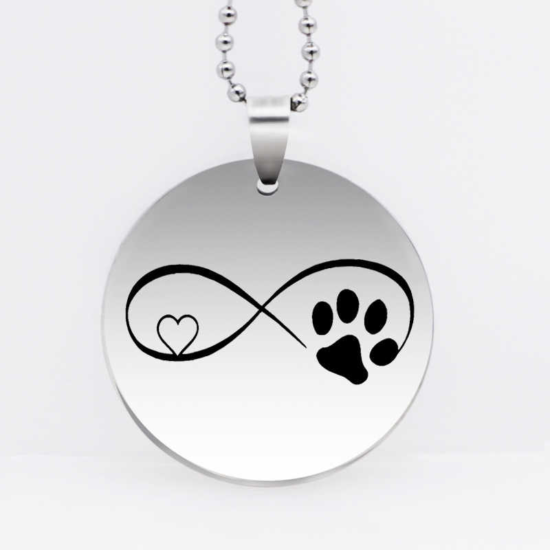Stainless Steel Infini Paw Print Pendant Necklace Lovely Heart Dog Paw Animal Jewelry Gift Drop Shipping YLQ6132
