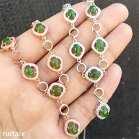 KJJEAXCMY boutique jewels S925 Pure silver inlay natural jasper lady pendant + necklace petal floral spinach green jewelry etru