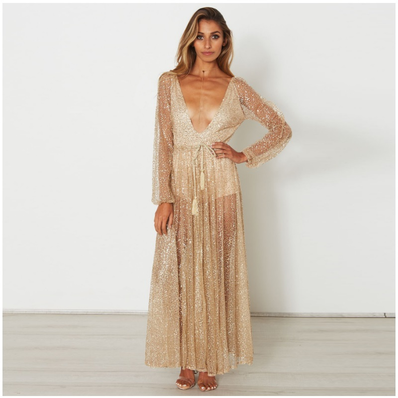 c934fcd8 Golden Sexy glitter Long sleeve Maxi Evening Party Dress Elegant V neck  Beach Dress Female Sequins club Translucent Sundress -in Dresses from  Women's ...