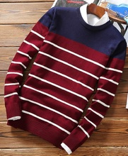 Fashion casual male full sleeve o-neck pullover knitwear sweaters stylish color contrasted striped knitted sweater for men