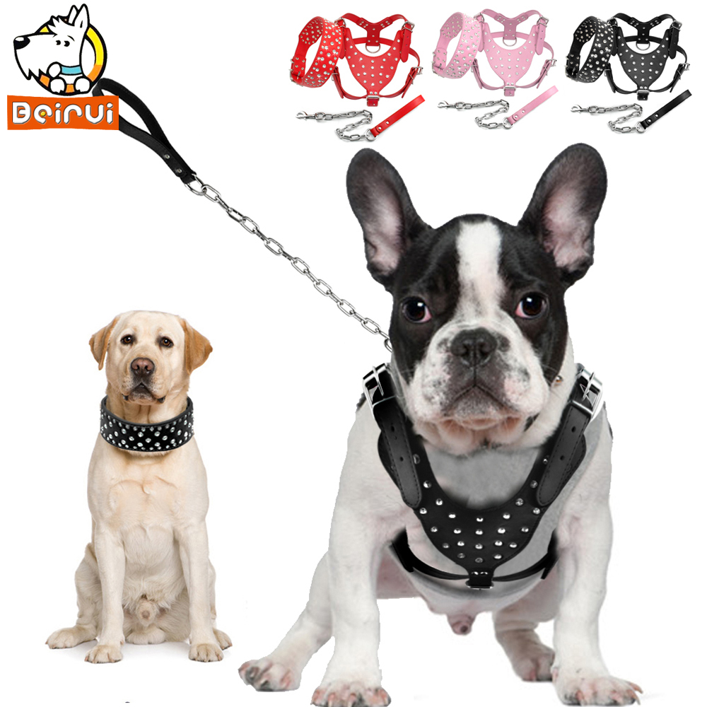 Rhinestone Studded Dog Harness Collar Leash Set Pu Leather Adjustable Collar and Harness For Medium Large