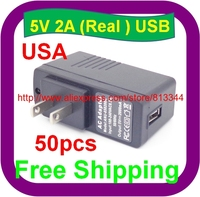 50 pcs Free Shipping 5V 2A USB USA plug Wall Charger ac /dc Adapter For Tablet PC