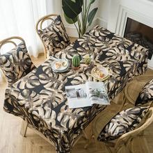 Hot Modern Waterproof Leaf Print Tablecloth Wedding Party Home Decorative Dining Table Cover tafelkleed Rectangular Table Cloth недорого