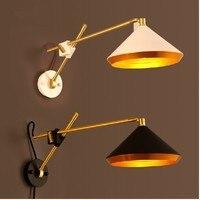 Черный/белый Винтаж лофт настенные промышленных лампа американский кантри Ретро Регулируемый Настенный светильник прикроватный чтение Ис