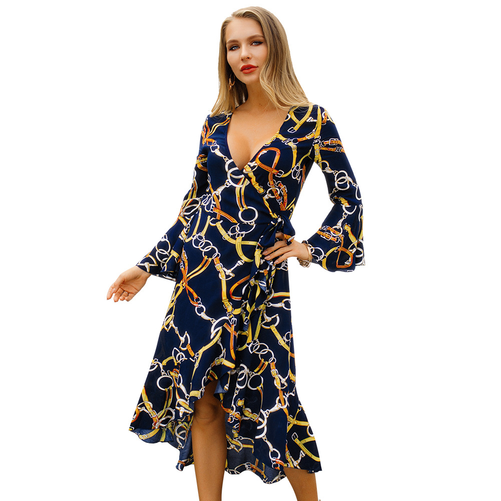 2019 Spring Long-sleeved V-neck Fashionable Dress Party Dress