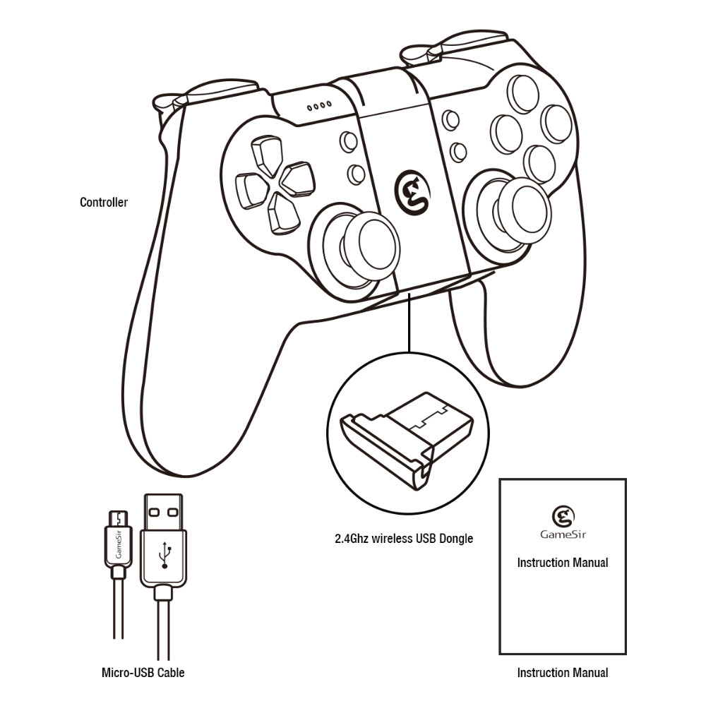 gamesir t1s gamepad for ps3 controller bluetooth 2 4ghz wired for sony playstation pc vr tv  [ 1000 x 1000 Pixel ]