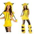 2017 new high quality Sexy Adult Yellow Plush Pikachu Cosplay Costumes Party Uniforms Set Animal Halloween Costume For Women