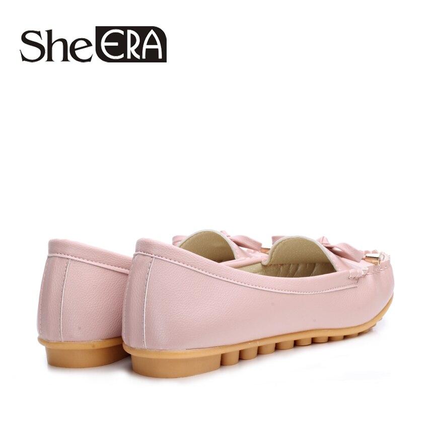 She Era 2017 New Arrival Women Flats Shoes Brand Women Shoes Sweet Bowtie Women Leather Shoes White/Black/Pink size 35-40
