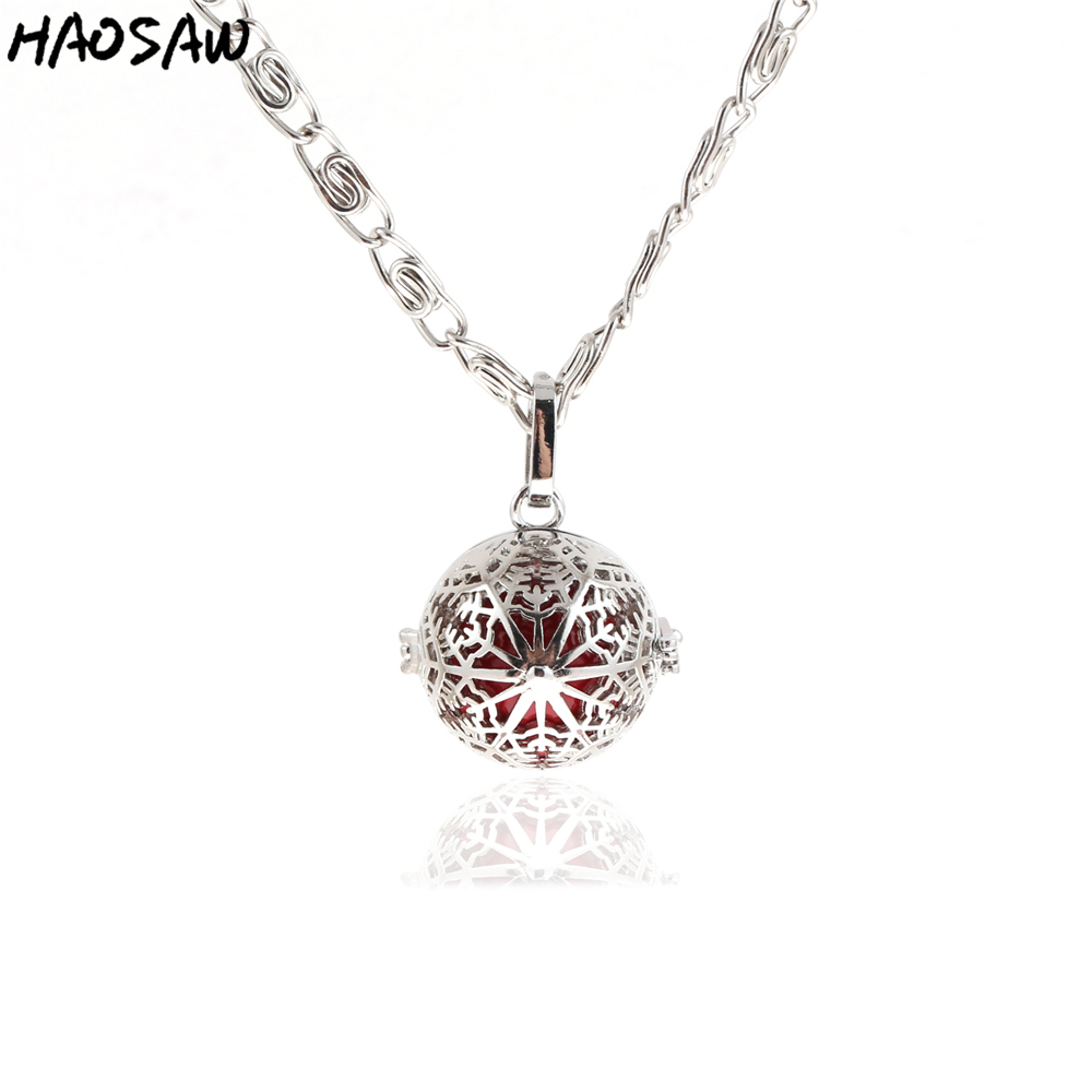 26mm Necklace Snowflake Hollow Cage Magic Box Bell Music