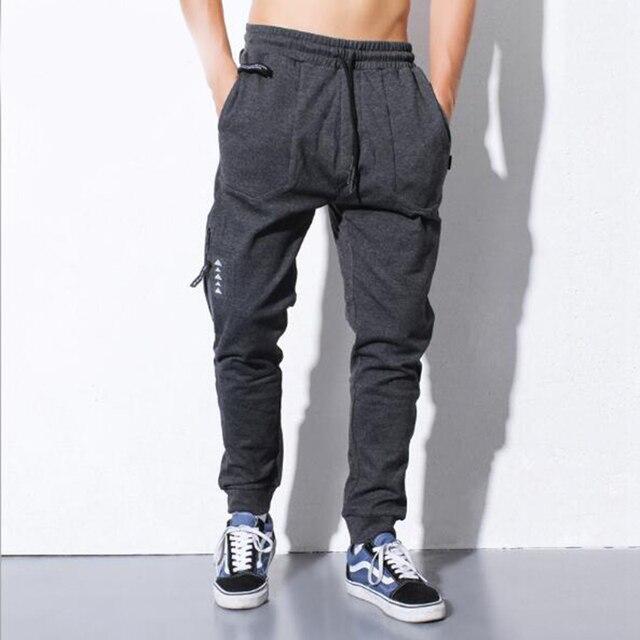 2016 мода досуг чистый цвет прямые мужские брюки-карго хлопок шерсть луч ноги мужские брюки-карго