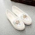 Симпатичные белый rhinestone женщин на плоской подошве женский мода повседневная квартиры леди круглый бриллиант вождения обувь zapatos де mujer