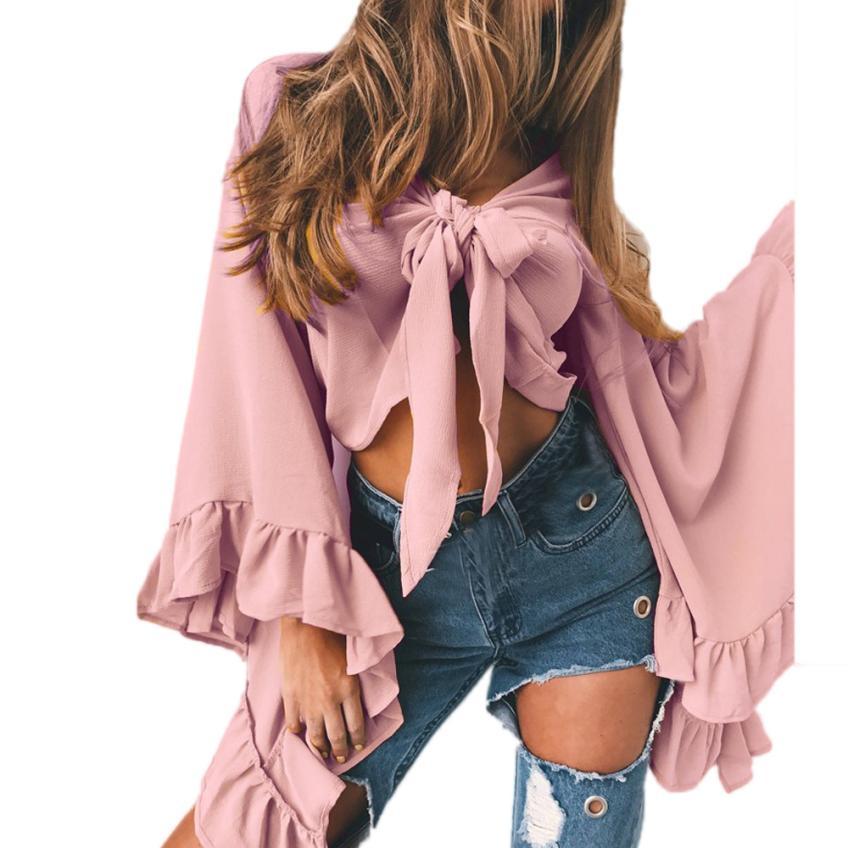2017 Fashion New Women Stylish Tops Strap Sleeve T Shirt V Neck Shirt 1PC Women Wonderful Tops Drop Shipping