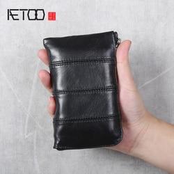 AETOO głowy warstwy skóry wołowej ręcznie robiony skórzany portfel|Portfele|   -