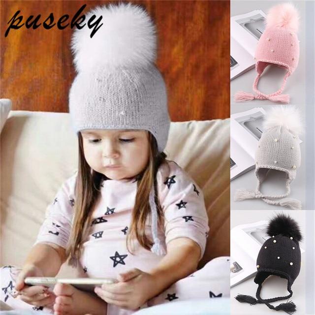 95ef90afd3e91 Puseky Baby Winter Hat Fur Pompom Caps bonnet enfant Toddler Boys Girls  Knitted Cap Cotton Protect