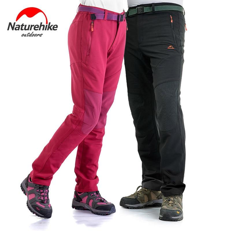 Naturehike ao ar livre calças de casca macia feminino calças de lã preta inverno frio quente comprimento total calças wearable carga solta calças