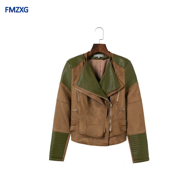 Women 2018 Autumn Winter Women Motorcycle PU Suede Patchwork Coat Female Zipper Slimming Coats Faux Suede Leather   Basic     Jackets